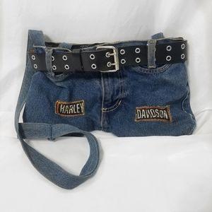 Harley Davidson blue jean shoulder bag